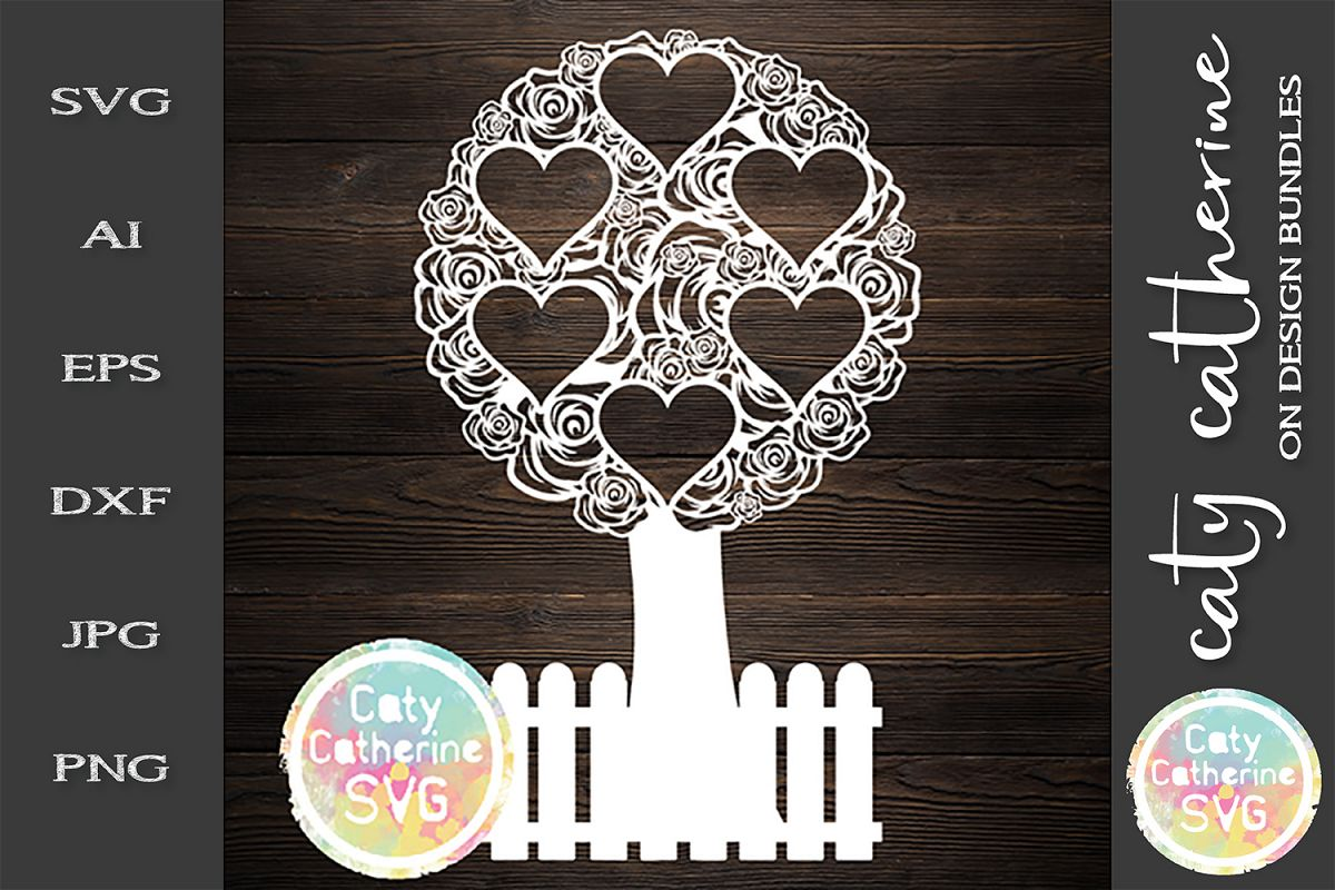 Rose Family Tree With Fence six Hearts SVG Cut File example image 1