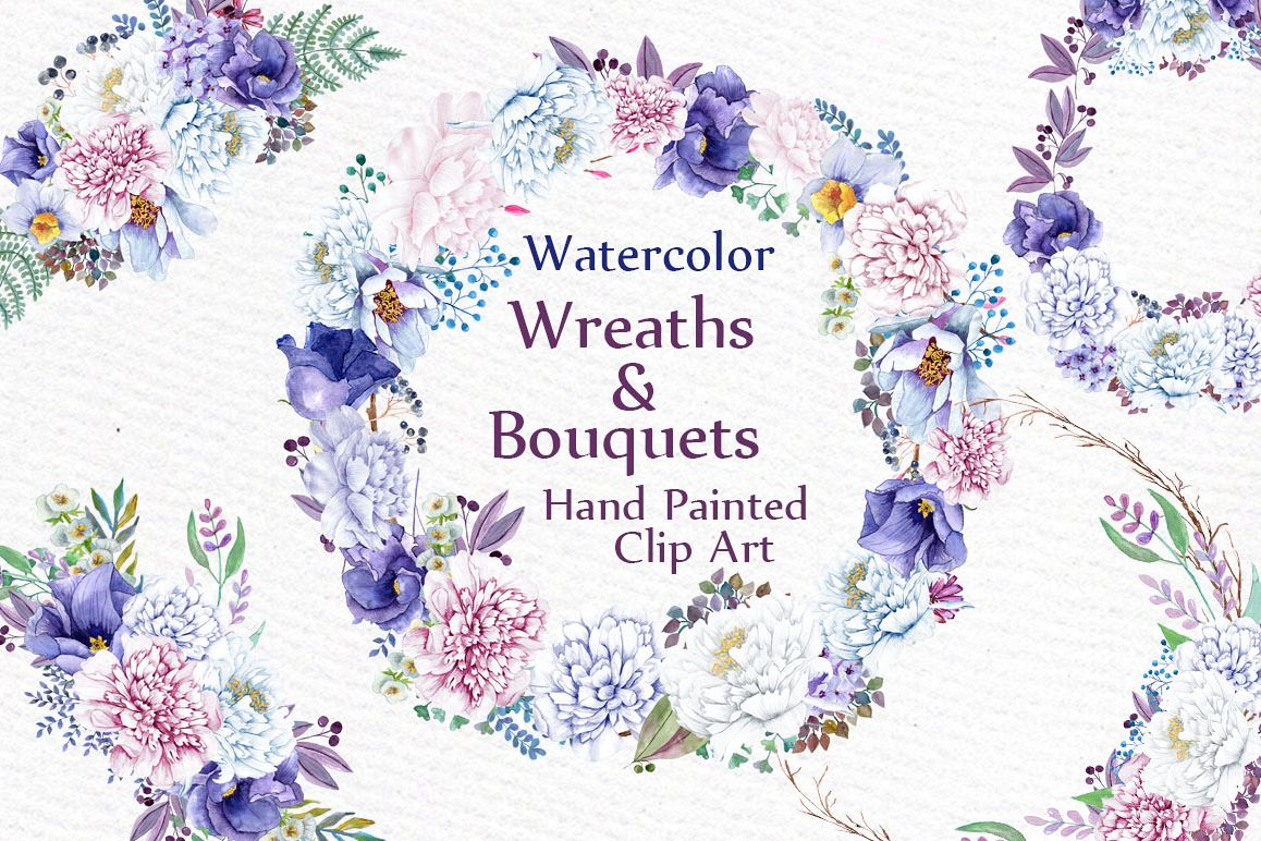 Watercolor wreaths and bouquets example image 1