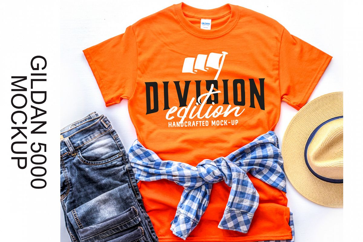 Shirt Mockup - Gildan - 5000 - Orange - photography example image 1