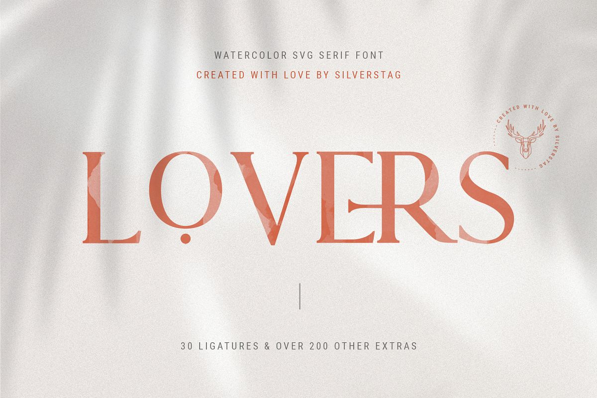Lovers SVG Serif Watercolor Modern Font & Extras example image 1