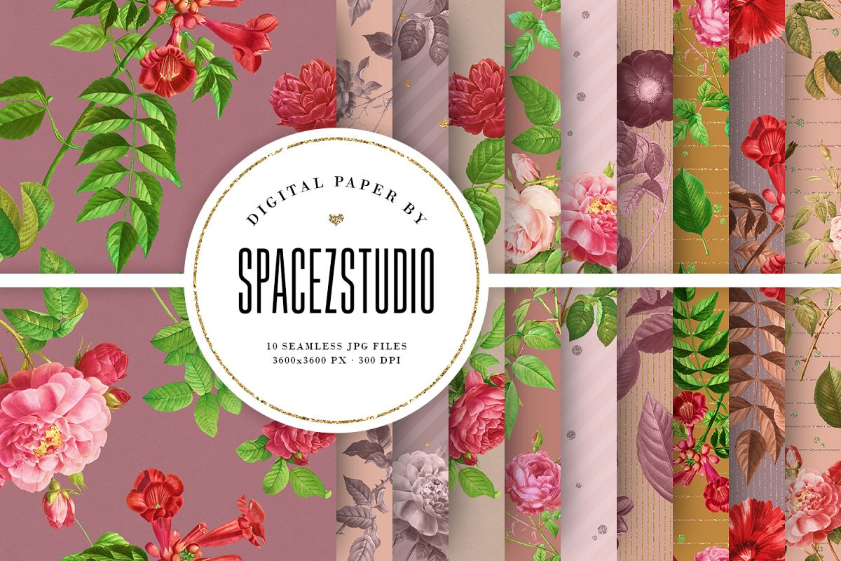 Tileable Beige Backgrounds With Vintage Flower Illustrations example image 1