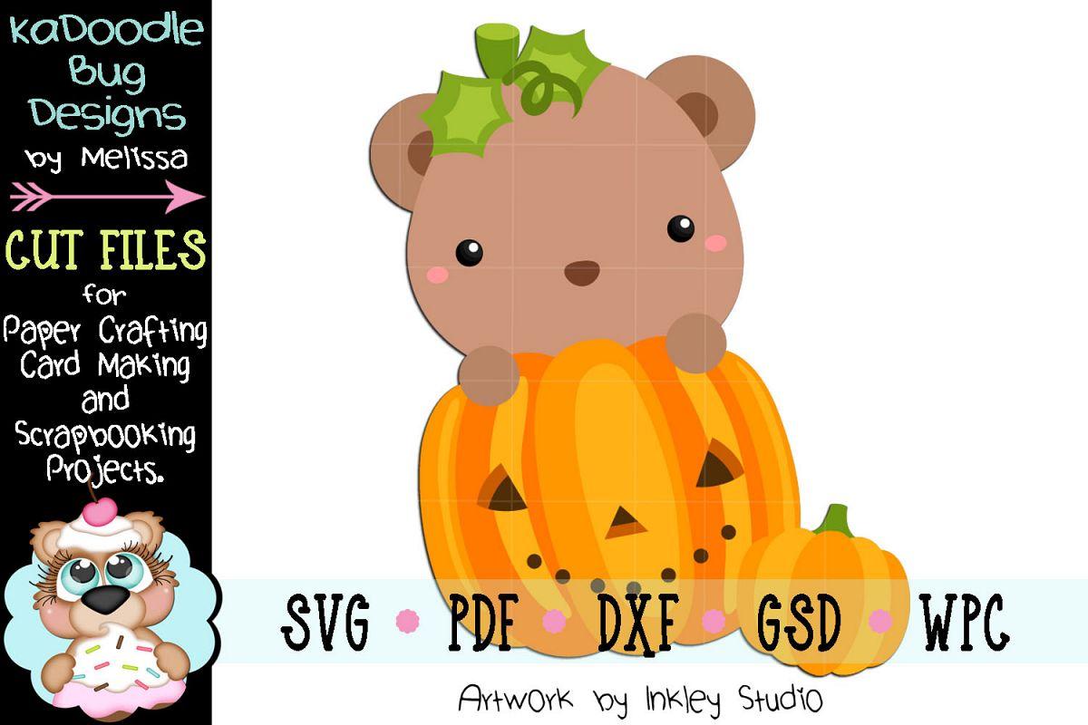 Halloween Pumpkin Bear Cut File - SVG PDF DXF GSD WPC example image 1