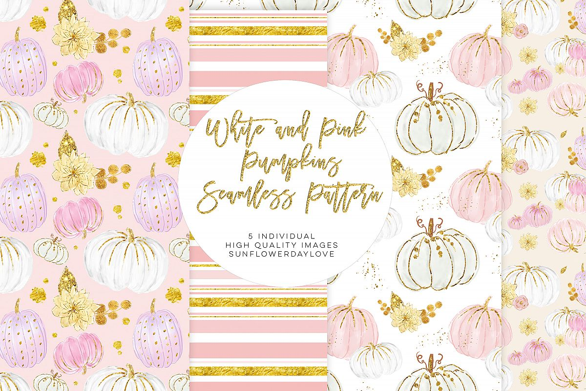 White and Pink Pumpkins Patterns, autumn pattern example image 1