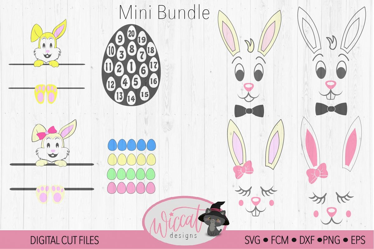 Easter bundle, easter calander, Easter bunny, Bunny face svg example image 1