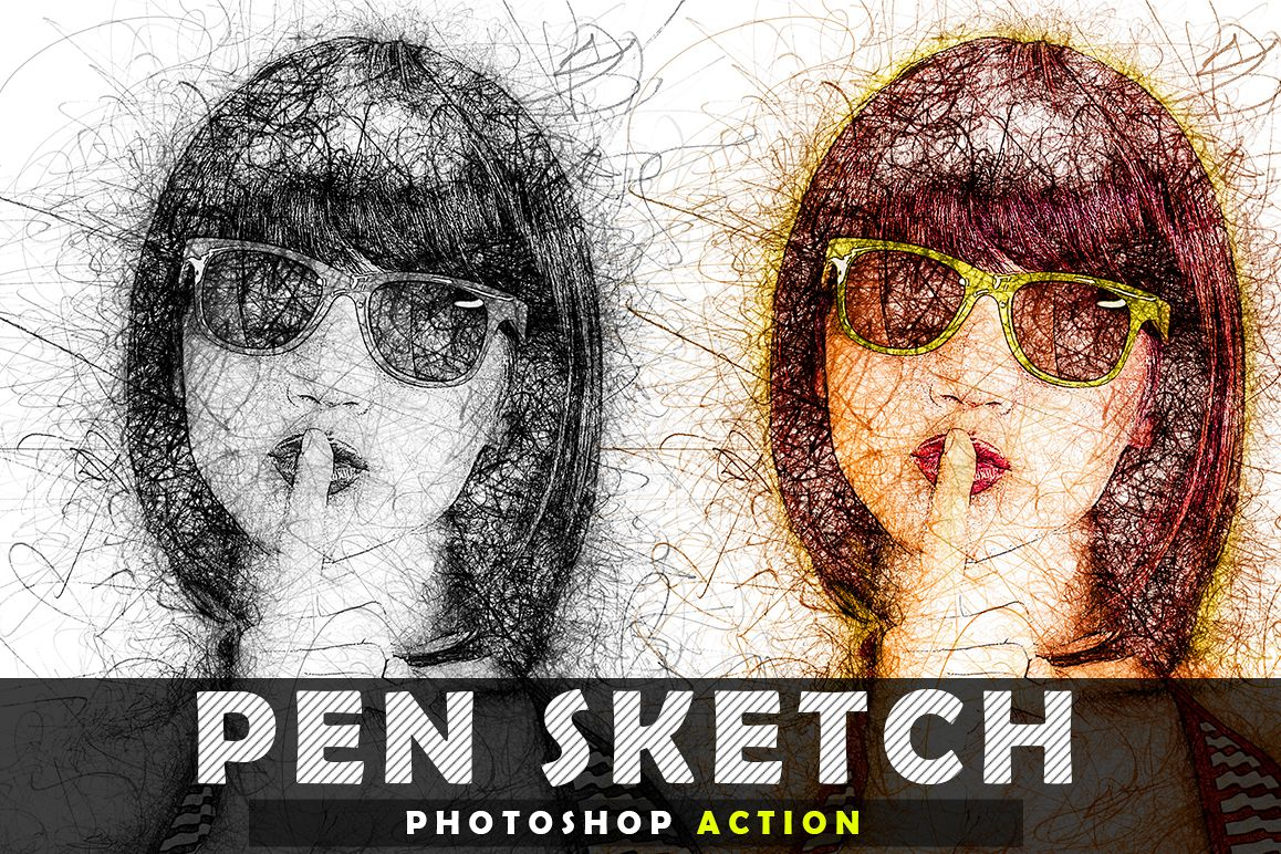 Pen Sketch Photoshop Action example image 1