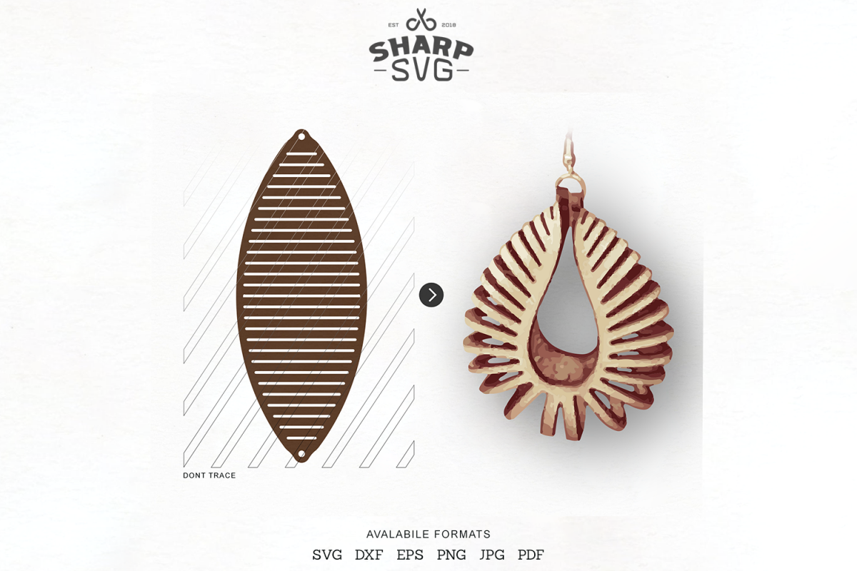 Download Sculpted Earring SVG - Leather Twisted Earrings Cut Template