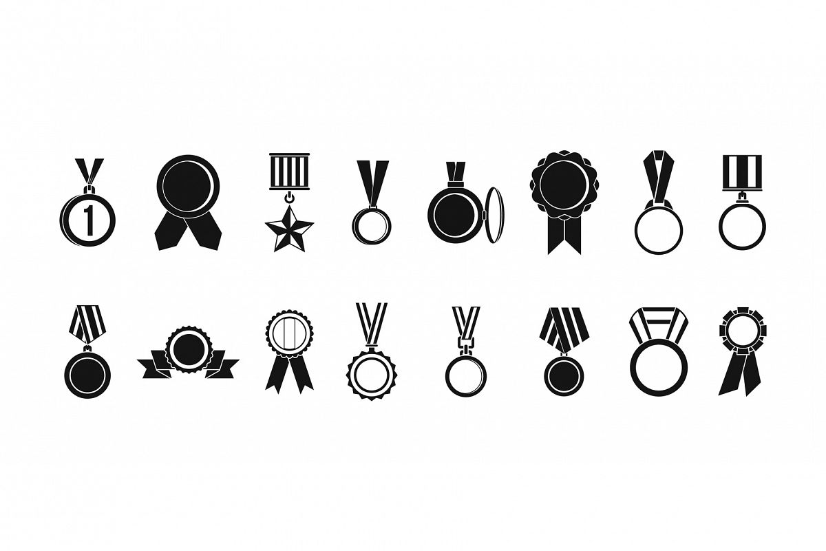 Medal icon set, simple style example image 1