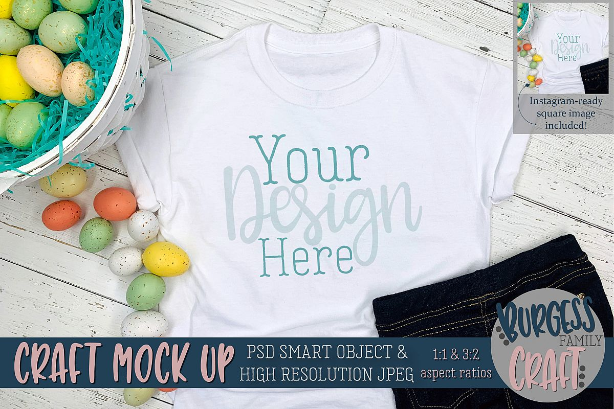 Easter kids white t-shirt Craft mock up |PSD & JPEG example image 1