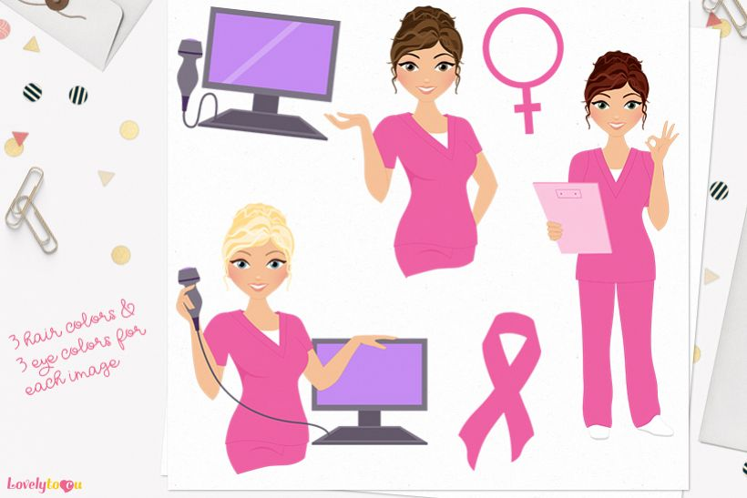 Nurse woman character clip art L393 Carly example image 1
