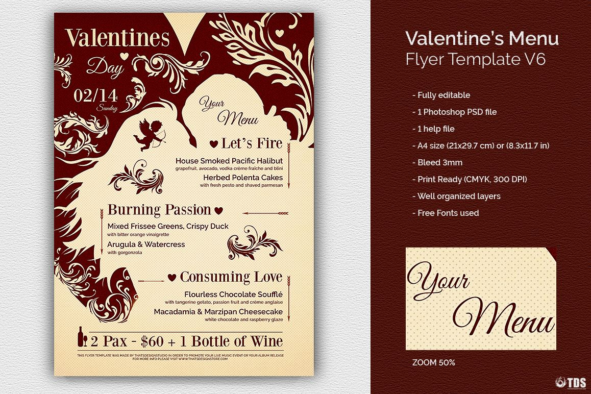 Valentines Day Menu Template V6 example image 1