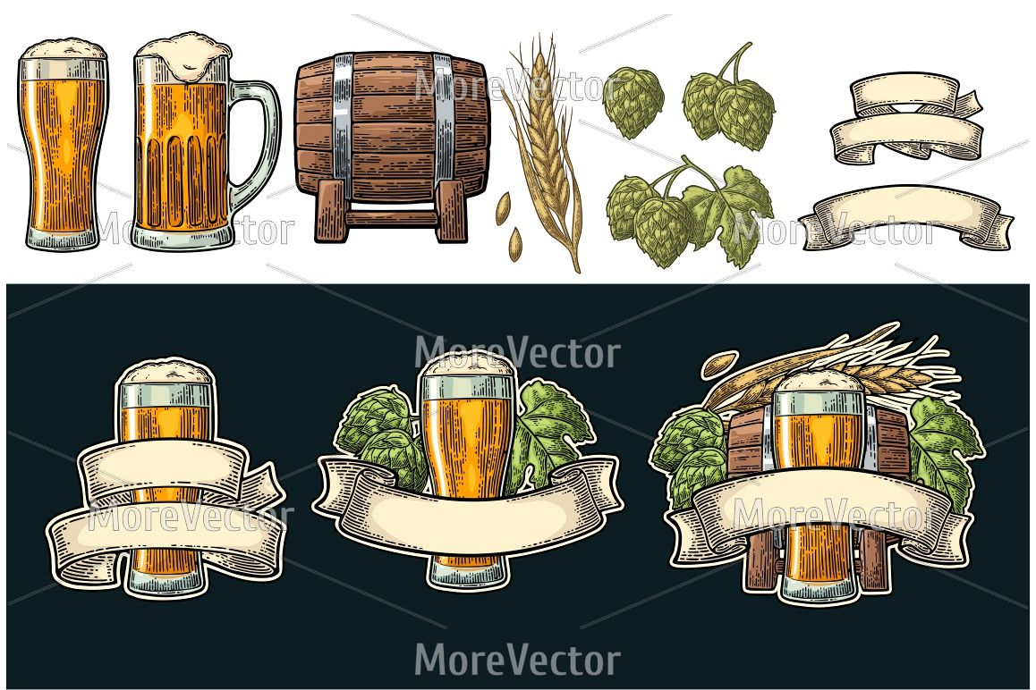 Glass beer with ribbon, barrel, ears of corn and hop branch. example image 1