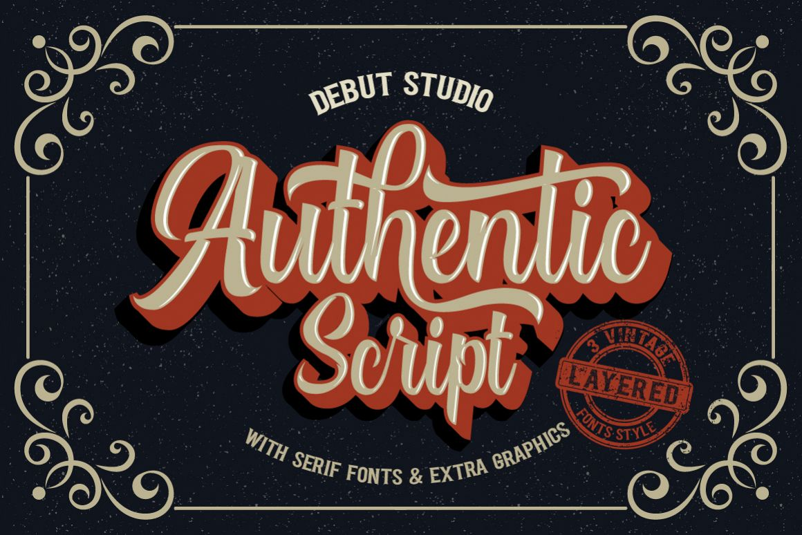 Authentic Script // Layered Fonts example image 1