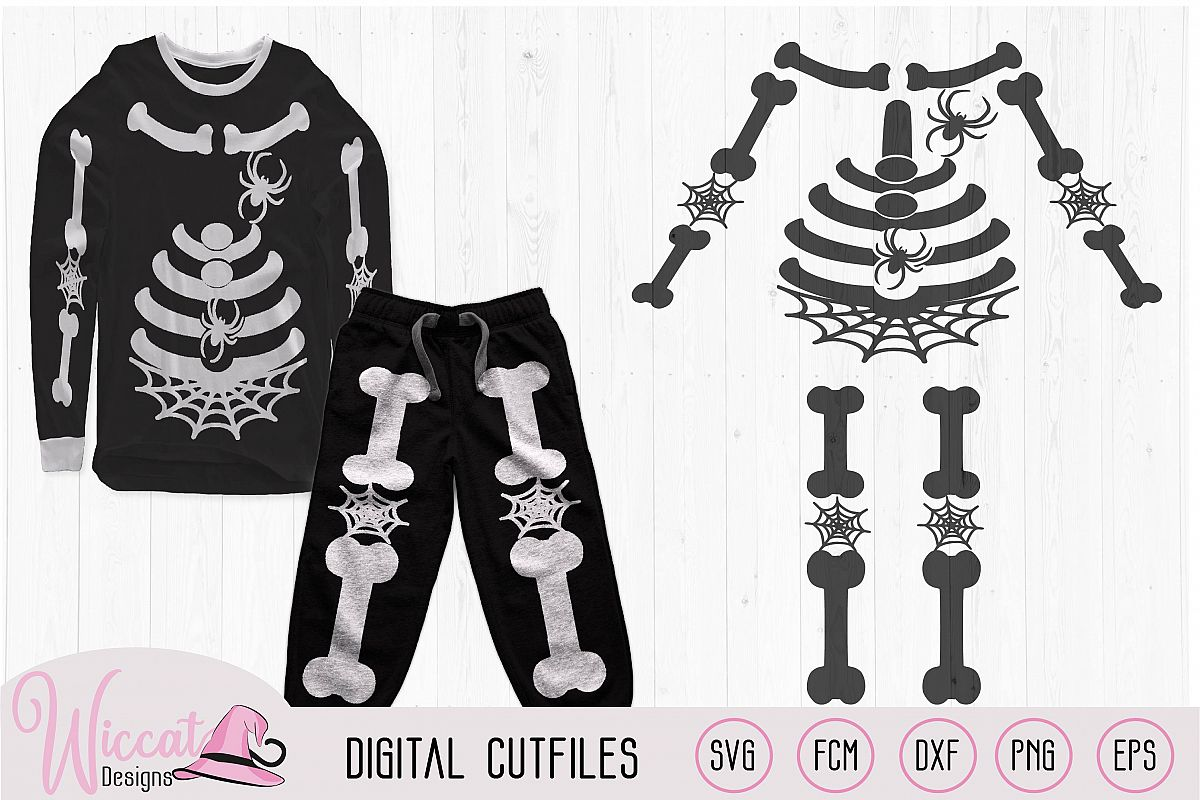 Skeleton with spiders costume svg, bones suit svg, example image 1