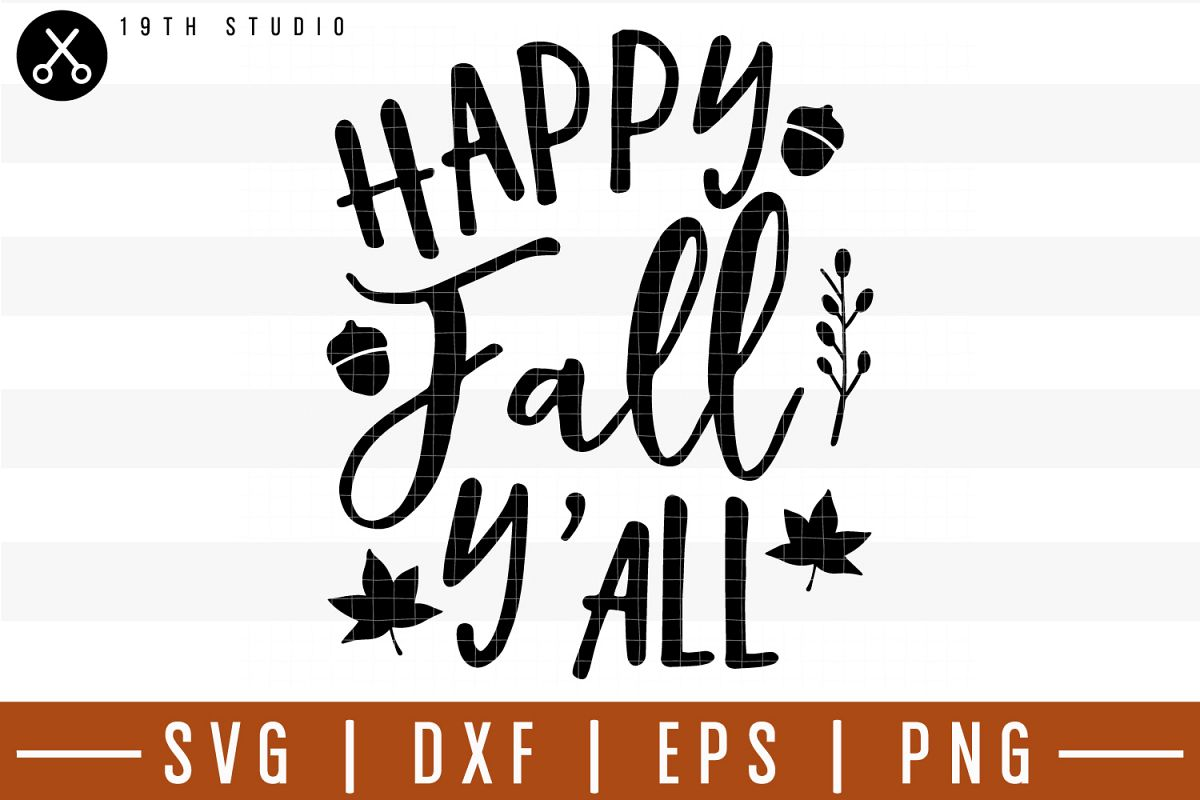 Happy fall y'all SVG| Fall SVG example image 1
