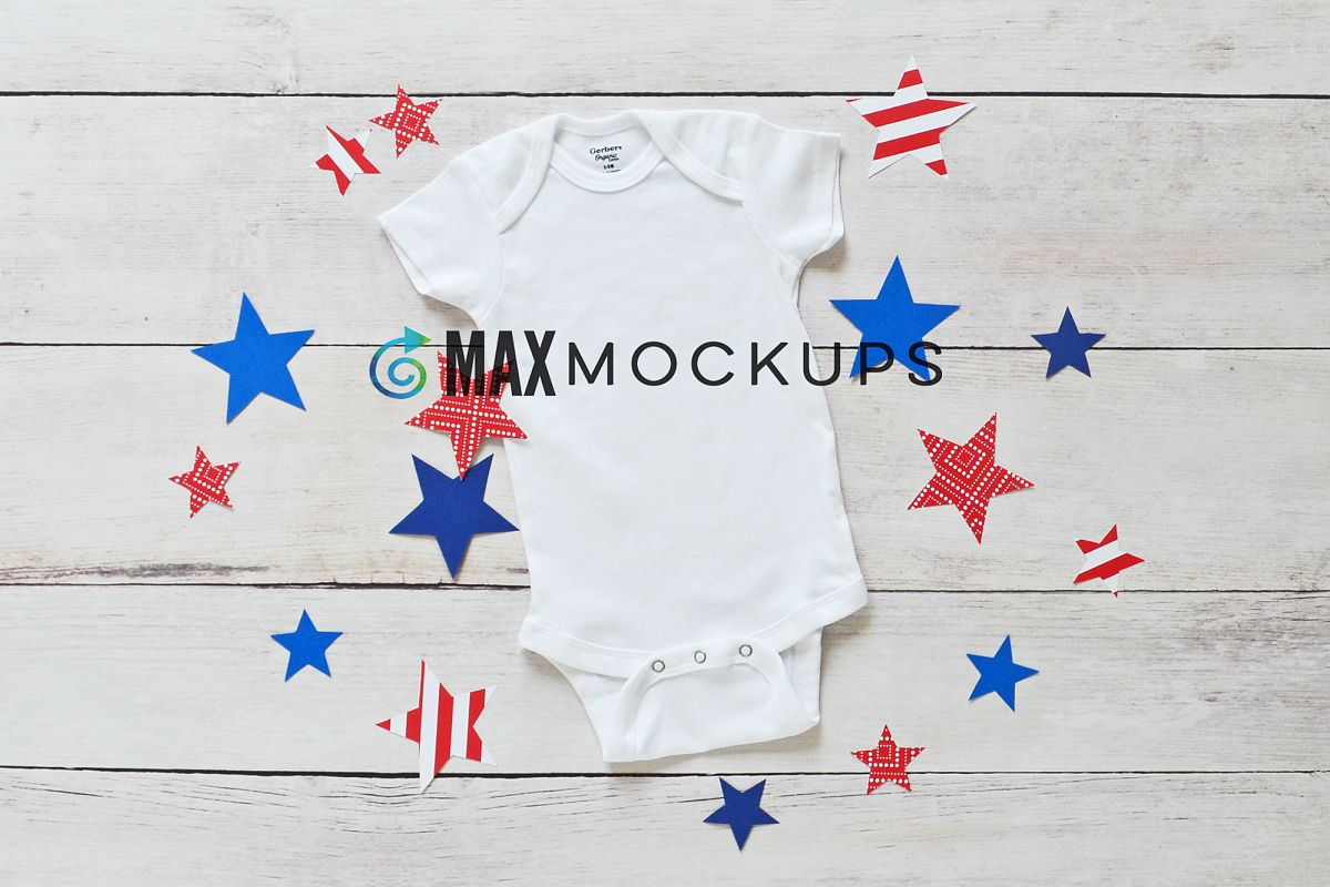 White baby bodysuit Mockup, July 4th red white blue stars example image 1