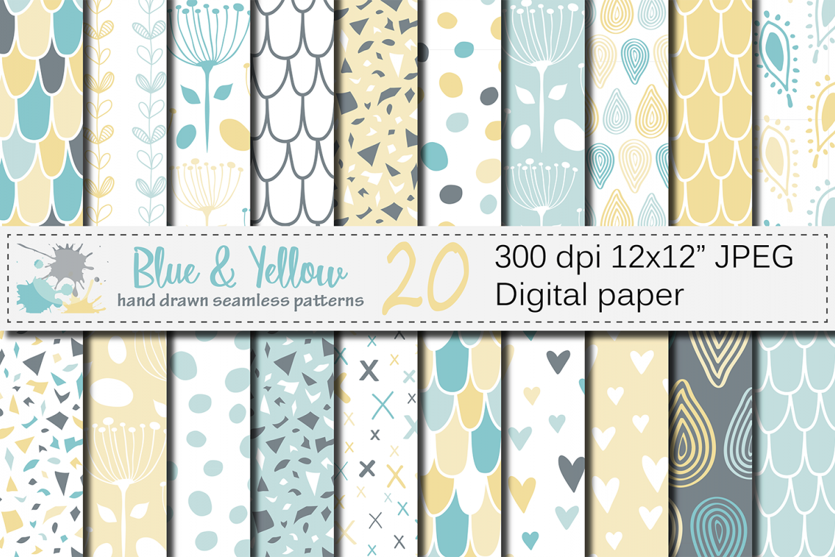 Blue and Yellow Seamless Digital Paper / Pastel Hand drawn patterns / Scales, Hearts, Leaves, Terrazzo Backgrounds example image 1