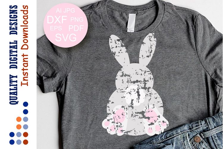 Easter sign svg Bunny clipart Grunge example image 1