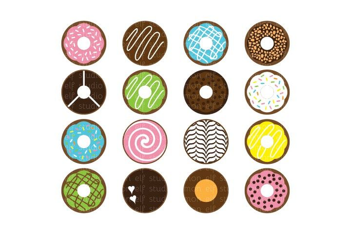 Sweet Donuts-Digital Clipart (LES.CL06) example image 1