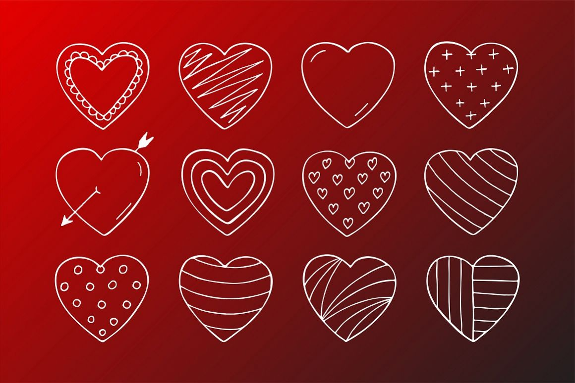 Hand drawn hearts in doodle style example image 1