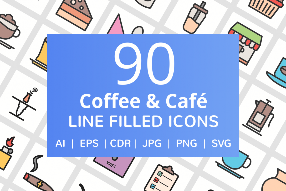 90 Coffee & Cafe Filled Line Icons example image 1