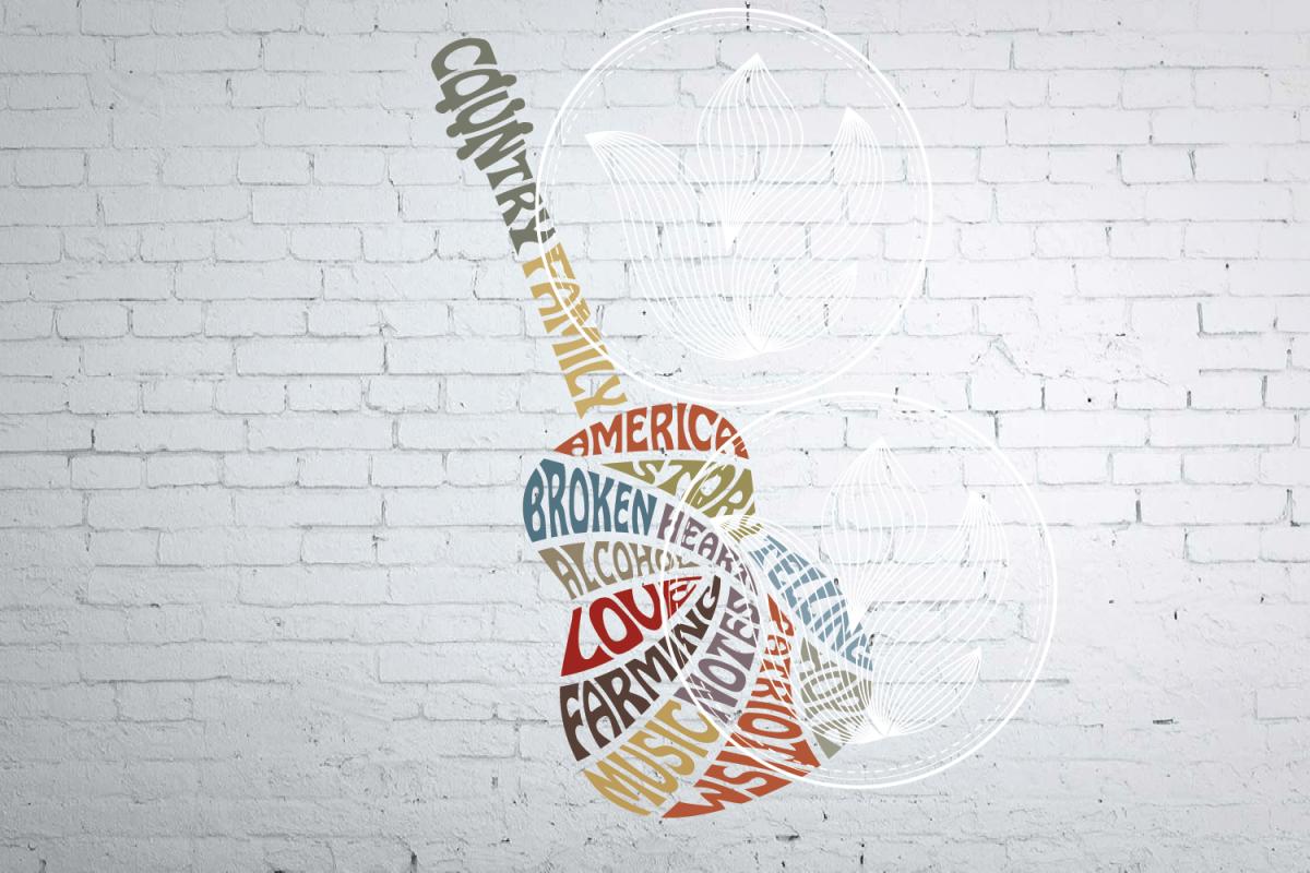 Digital Country Guitar Word Art Design Music Guitar Jpg Png Eps