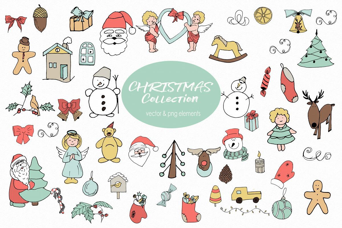 Christmas and Winter Vector clipart Winter elements Santa