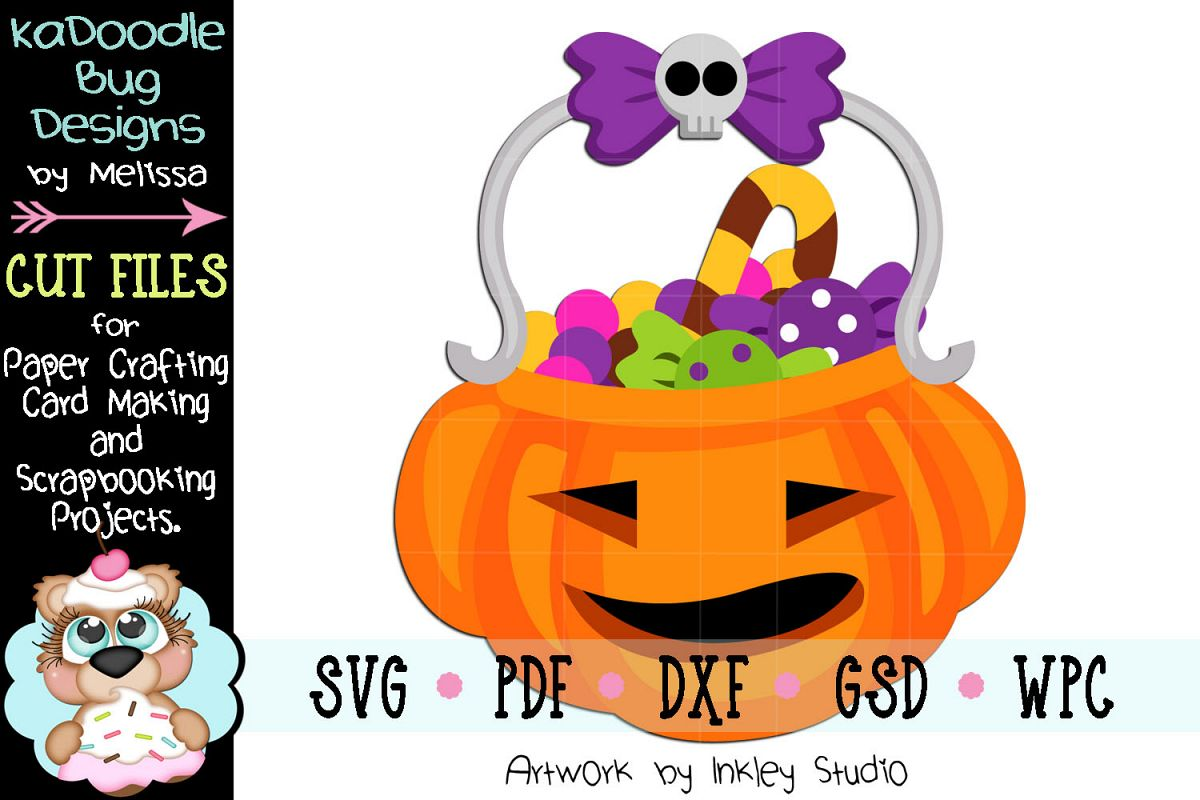 Halloween Candy Pumpkin Bucket Cut File -SVG PDF DXF GSD WPC example image 1