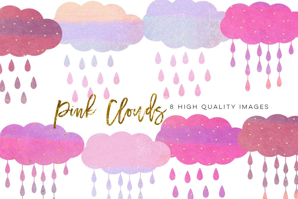 pink clouds clip art, nursery decor, brush cloud clip art, Watercolor Brush Stroke Pastel Pink, Gold pink clip art, sticker planner paper example image 1