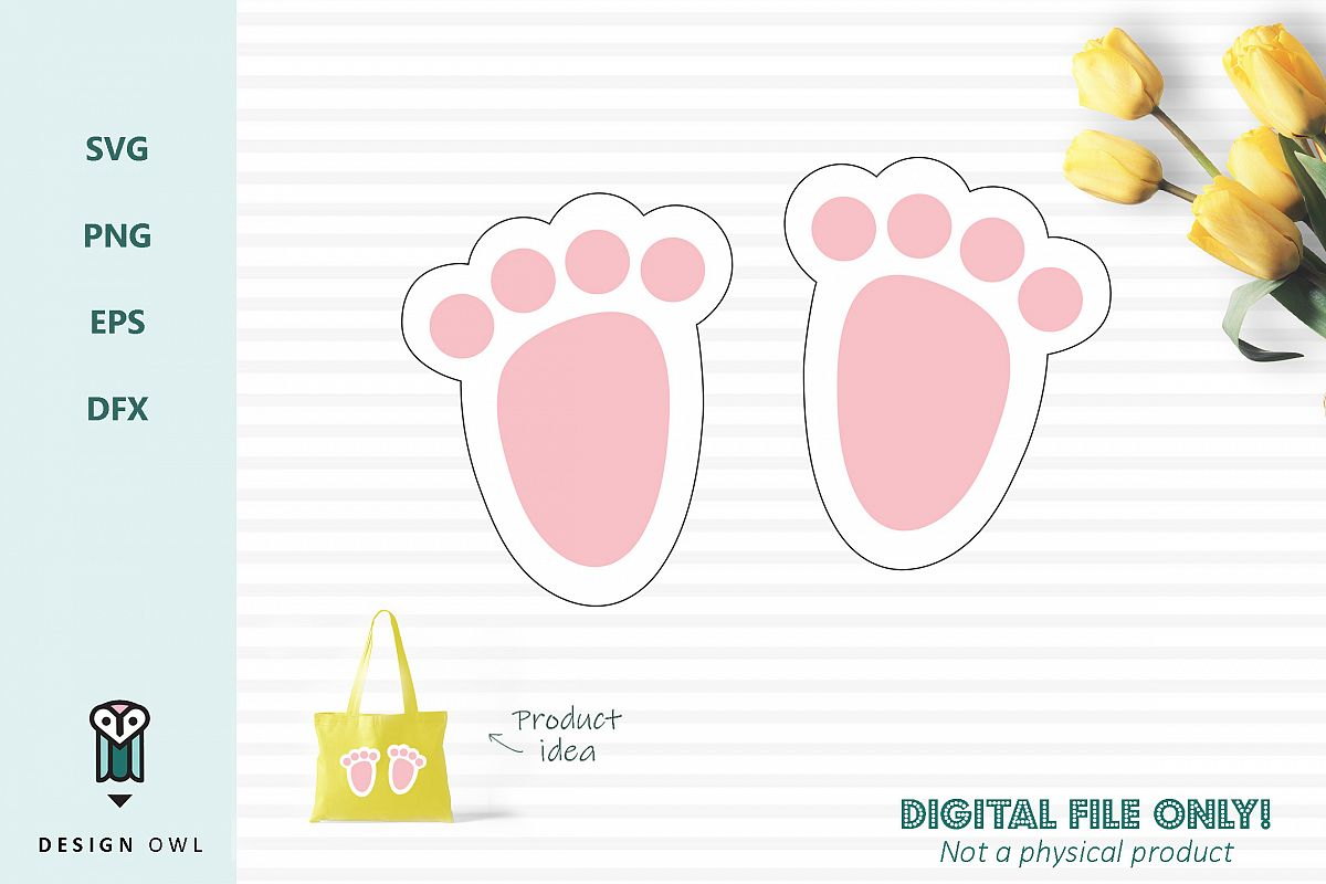 Bunny foot prints - Easter SVG cut file example image 1