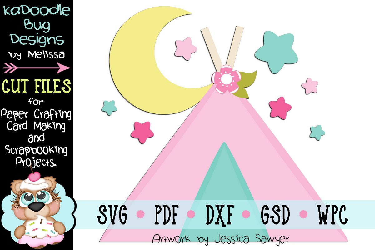 Moon Tent Cut File - SVG PDF DXF GSD WPC example image 1