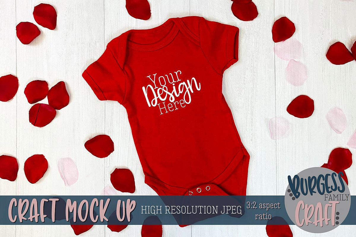 Valentine red baby bodysuit II Craft mock up example image 1