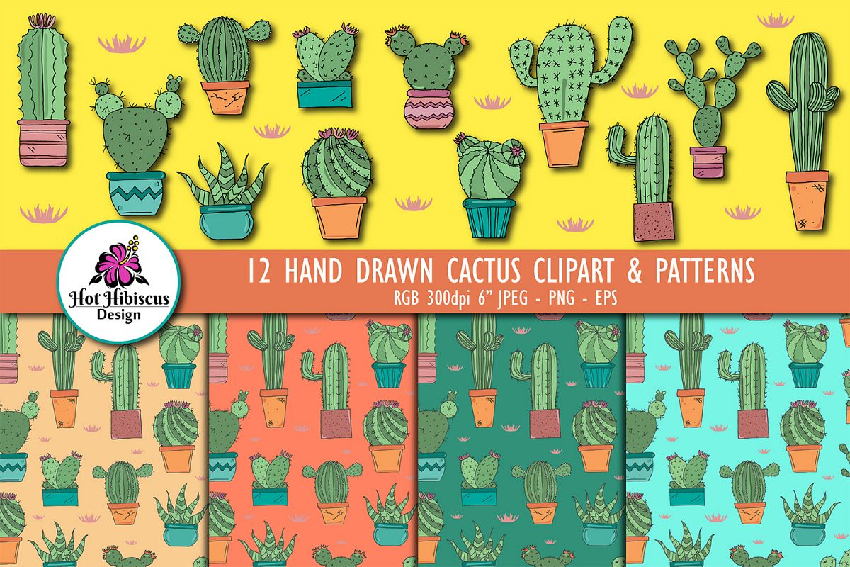 Hand Drawn Cactus Clipart Illustrations and Patterns Bundle example image 1