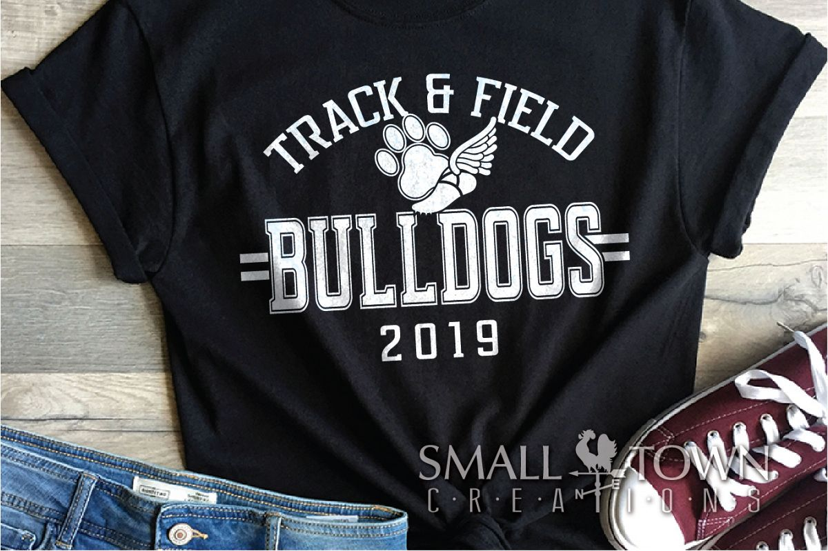 Bulldogs Track and Field, bulldog mascot, PRINT, CUT, DESIGN example image 1