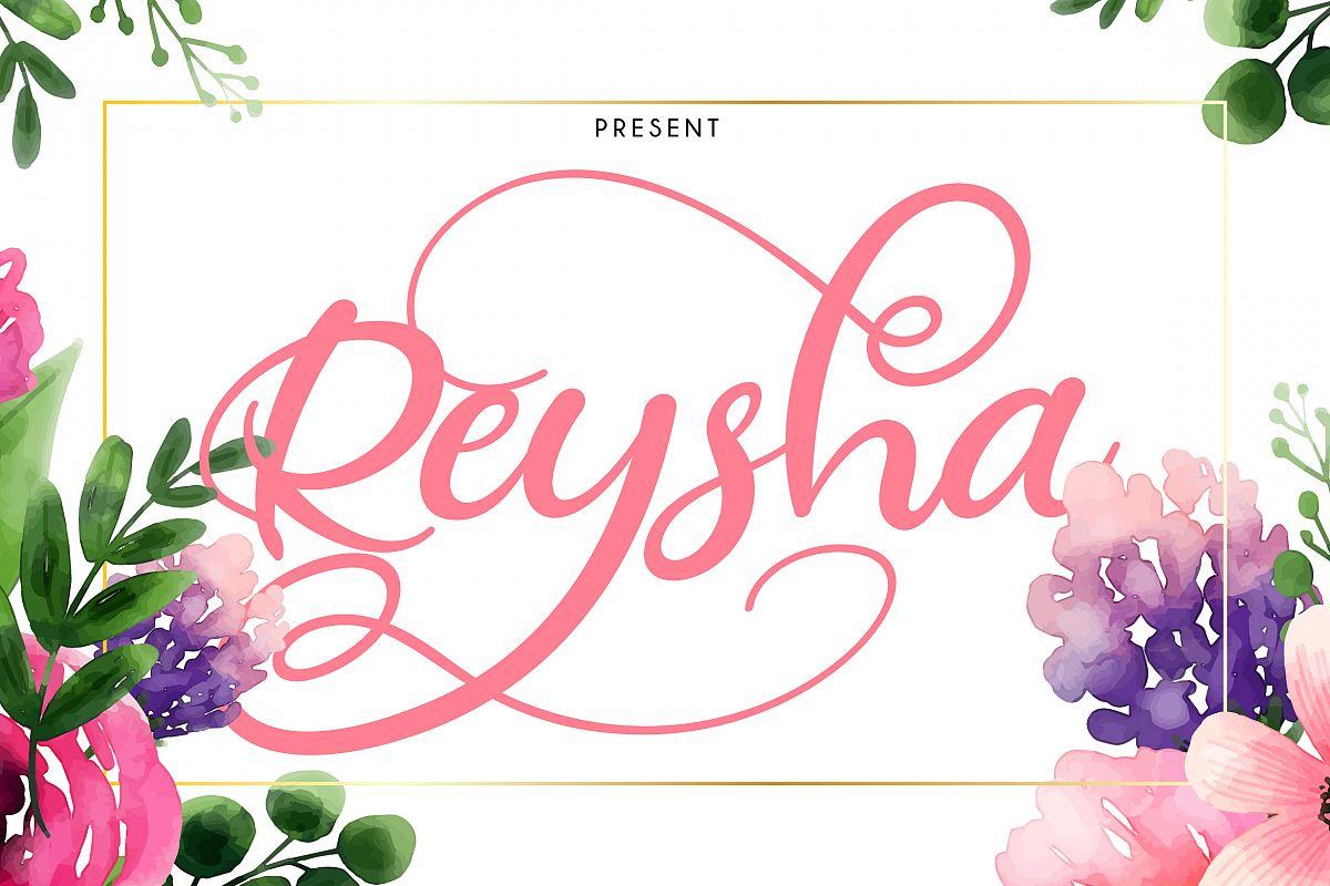 Reysha   Flower Script Font example image 1