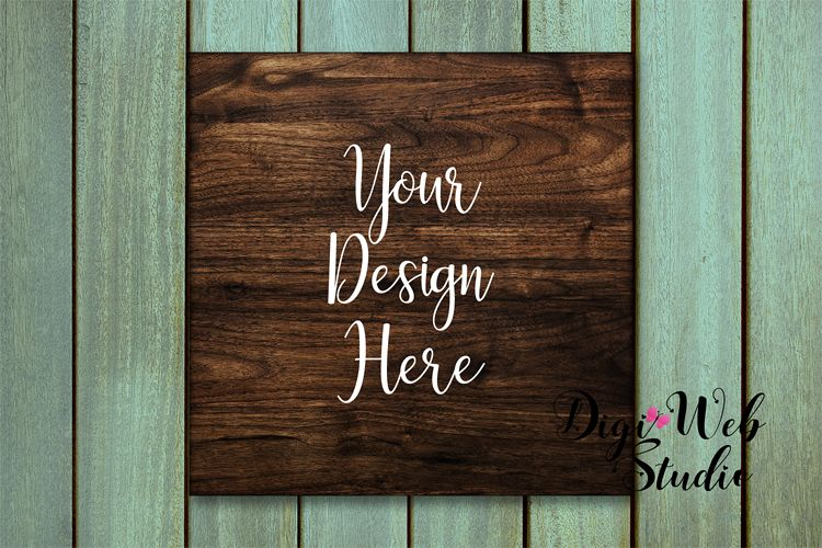 Wood Sign Mockup - Square Wood Sign on Sea Green Washed Wood example image 1