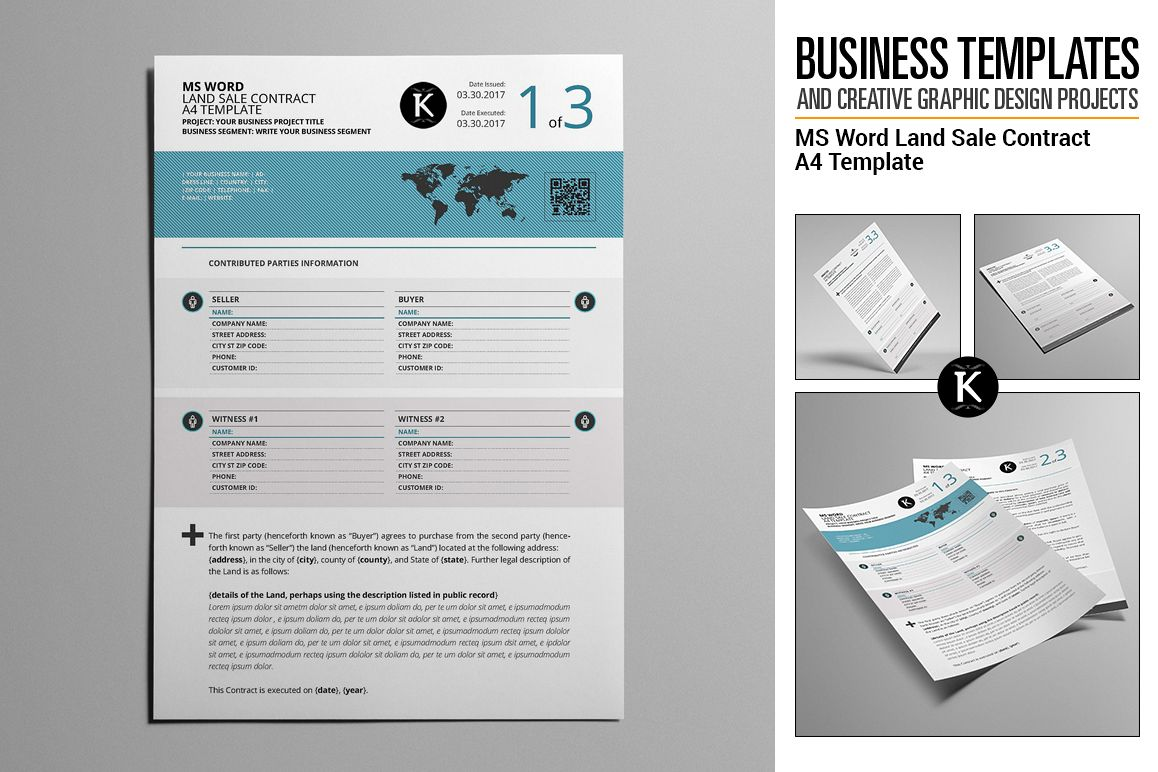 MS Word Land Sale Contract A4 Template | Design Bundles