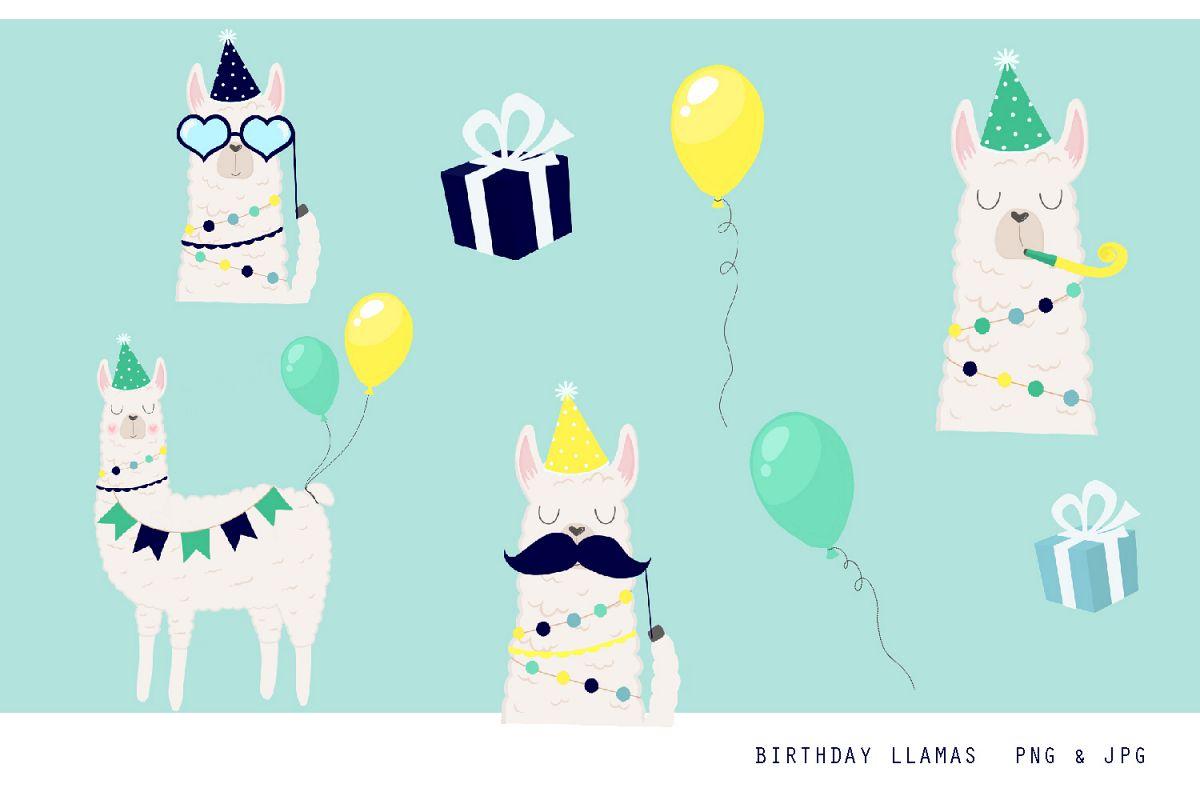 Birthday Llama Clipart Set