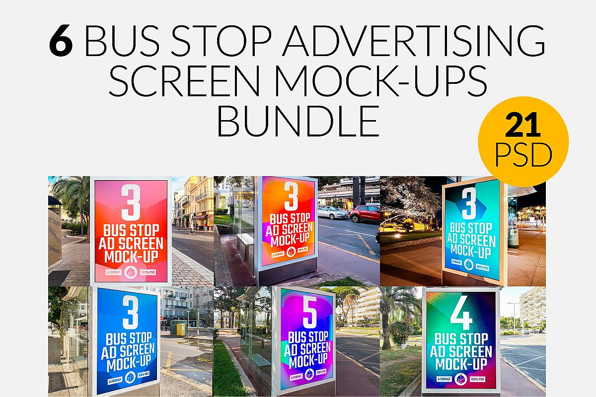Bus Stop Advertising Screen Mock-Ups Bundle / 21 PSD example image 1