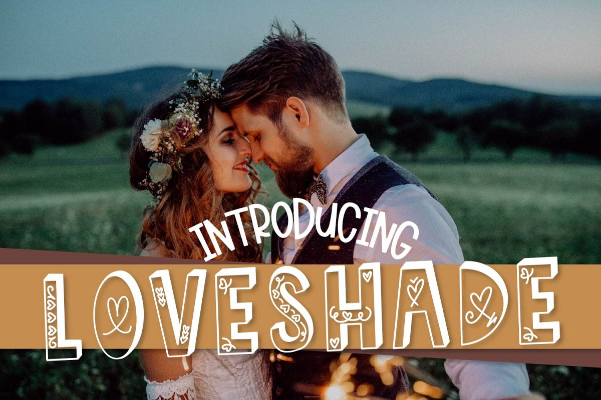 LOVESHADE - A Hearty Hand Drawn Shadow Font example image 1