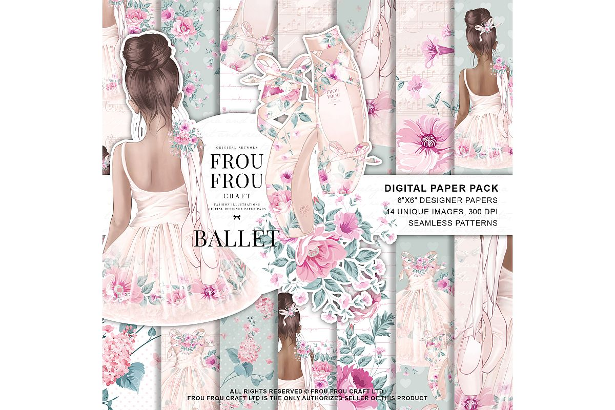 Ballet Watercolor Hand Drawn Child Dress Paper Pack example image 1