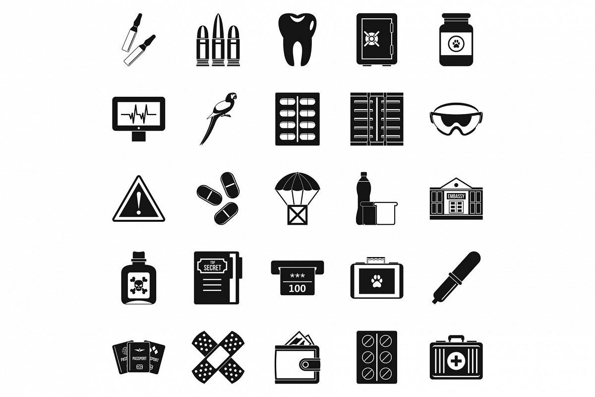 Cause icons set, simple style example image 1