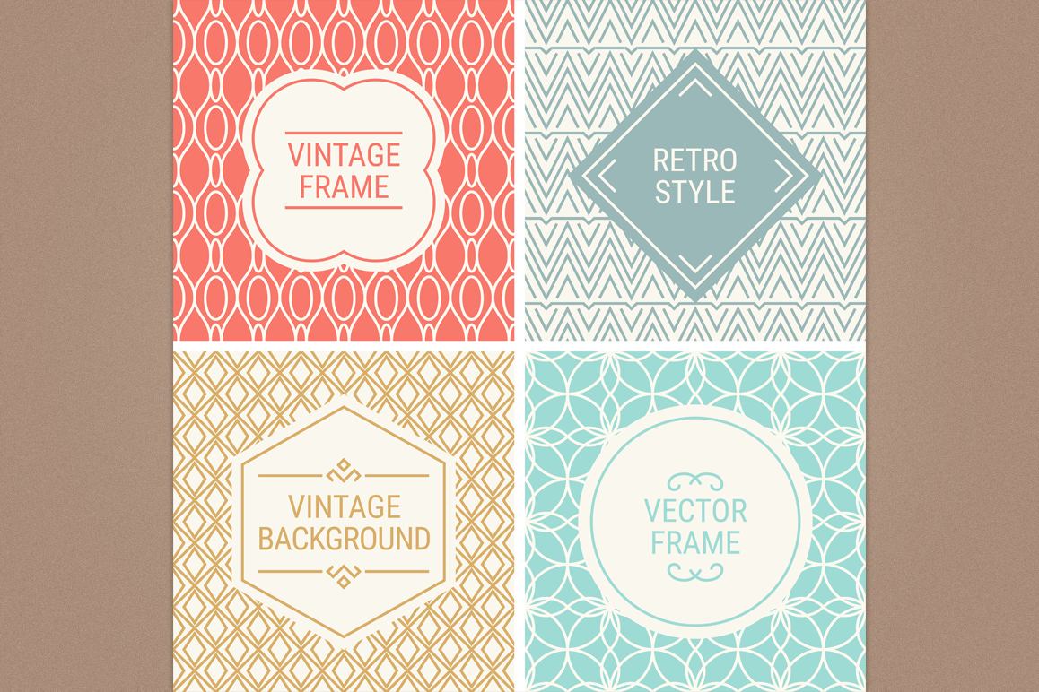 Mono Line Frames and Patterns - Set 20 example image 1
