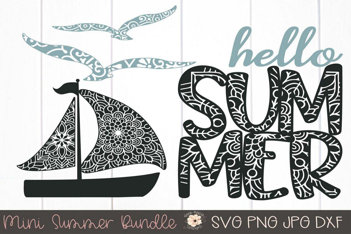 Summer Mini Bundle Mandala Svg | Boat Seagulls Zentangle example image 1