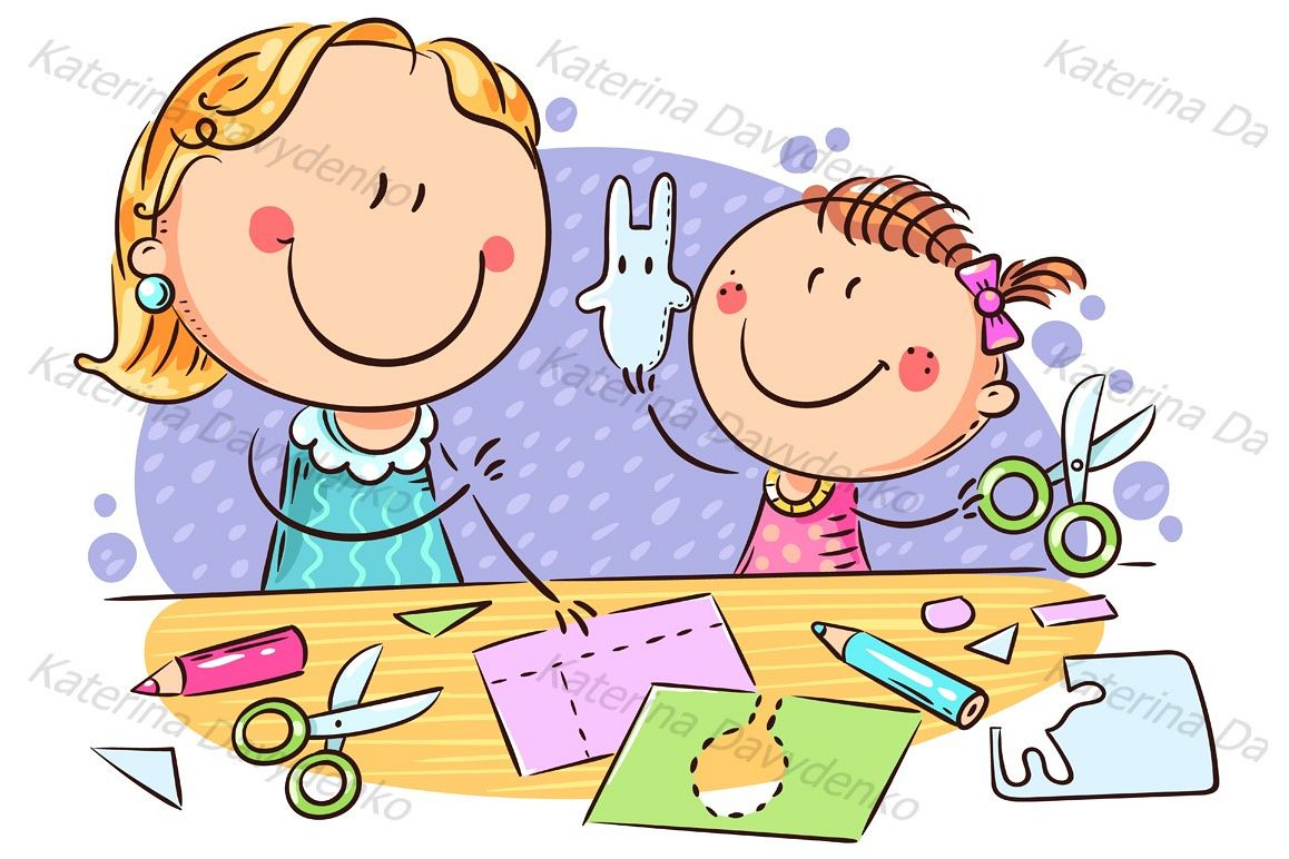 Mother or teacher and a little girl enjoy crafting together example image 1