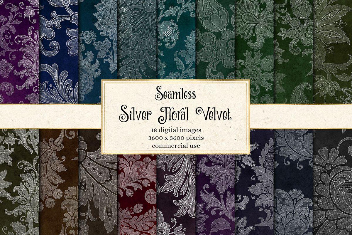 Silver Floral Velvet Digital Paper example image 1
