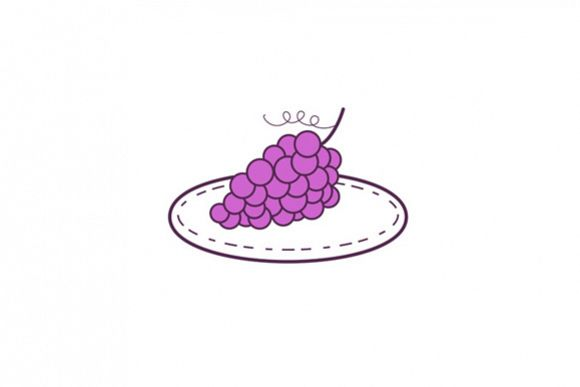 Grapes on Plate Mono Line example image 1
