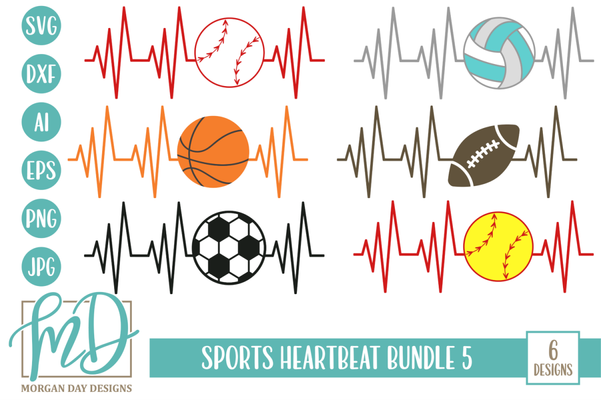 Volleyball - Basketball - Sports Heartbeat Bundle 5 SVG example image 1