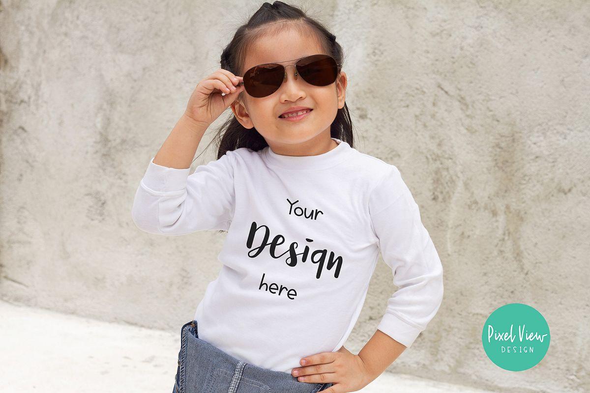 3/4 White shirt Mock-up for Girls example image 1