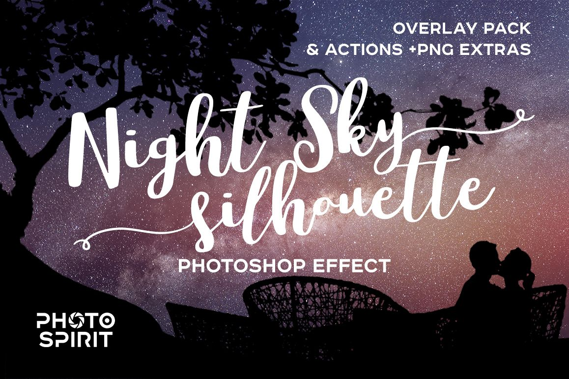 Night Sky Silhouette Actions example image 1