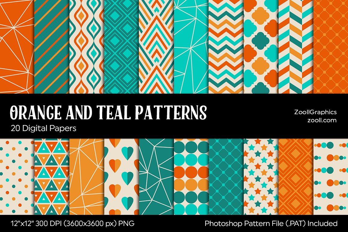 Orange And Teal Digital Papers example image 1